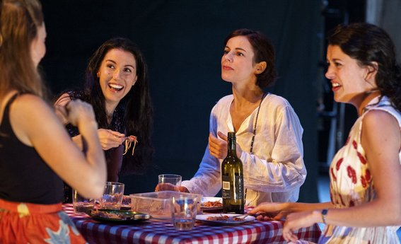 Eloise Winestock, Megan Drury, Francesca Savige and Teresa Jakovich in Sport For Joves Alls Well That Ends Well. Lighting by Toby K.