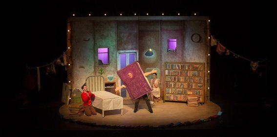 Gabriel Fancourt, Jo Turner and Madeleine Jones in The Incredible Book Eating Boy. Produced by CDP Theatre Producers. Lighting Design by Toby K.