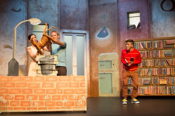 Madeleine Jones, Jo Turner and Gabriel Fancourt in The Incredible Book Eating Boy. Produced by CDP Theatre Producers. Lighting Design by Toby K.
